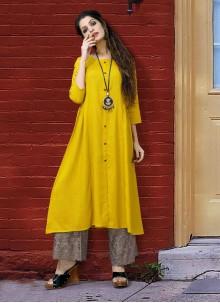 Rayon Yellow Printed Designer Kurti