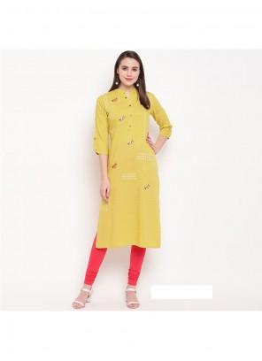 Rayon Yellow Printed Party Wear Kurti