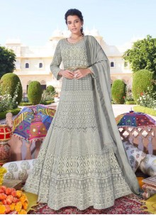 Grey Readymade Anarkali Suit For Festival