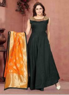 Readymade Anarkali Suit Handwork Chanderi in Green