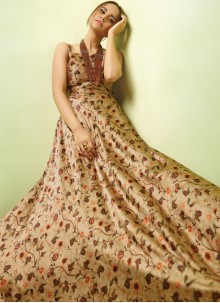 Beige Readymade Gown For Party