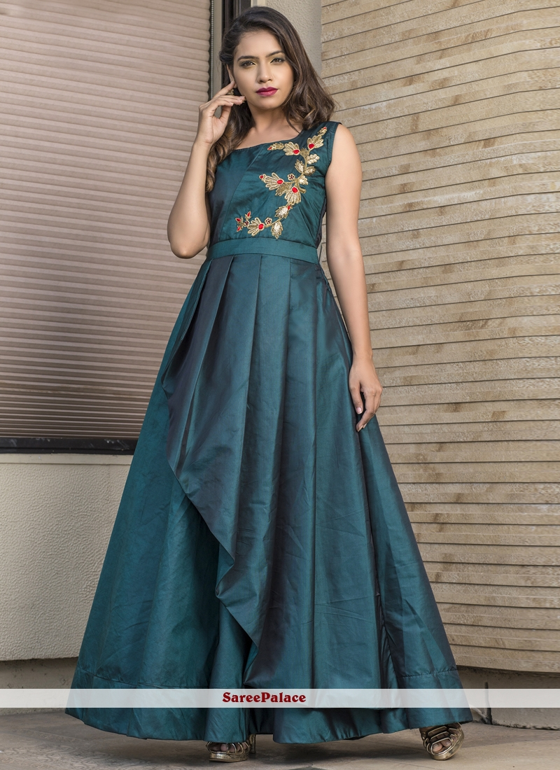 Readymade Gown  Resham Tafeta silk in Teal