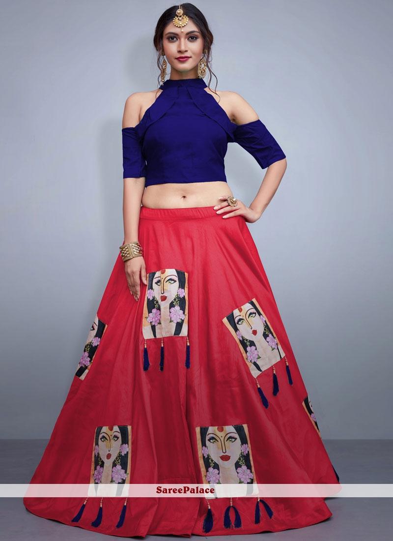 Readymade Lehenga Choli Embroidered Tafeta Silk in Rose Pink
