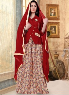 Readymade Lehenga Choli Fancy Banglori Silk in Red