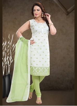 Readymade Suit Embroidered Chanderi in Green