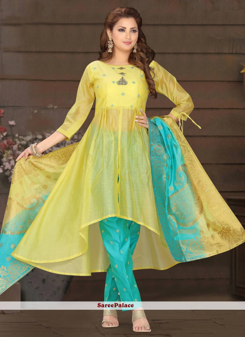 Readymade Suit Embroidered Chanderi in Yellow