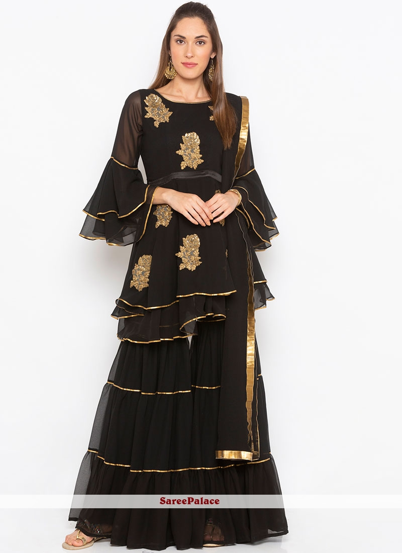 Readymade Suit Embroidered Faux Georgette in Black