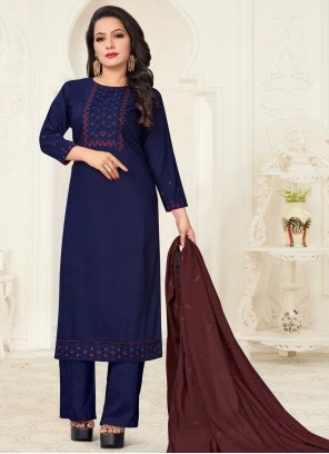 Readymade Suit Embroidered Linen in Navy Blue