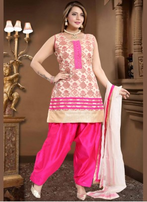 Readymade Suit Fancy Banglori Silk in Cream and Pink