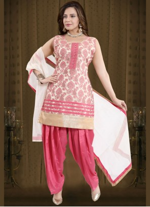 Readymade Suit Fancy Banglori Silk in Pink