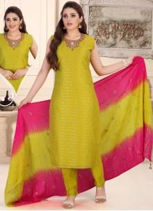 Readymade Suit Fancy Chanderi in Green