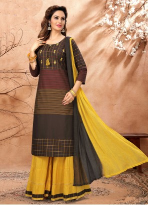 Readymade Suit Fancy Cotton in Black and Yellow