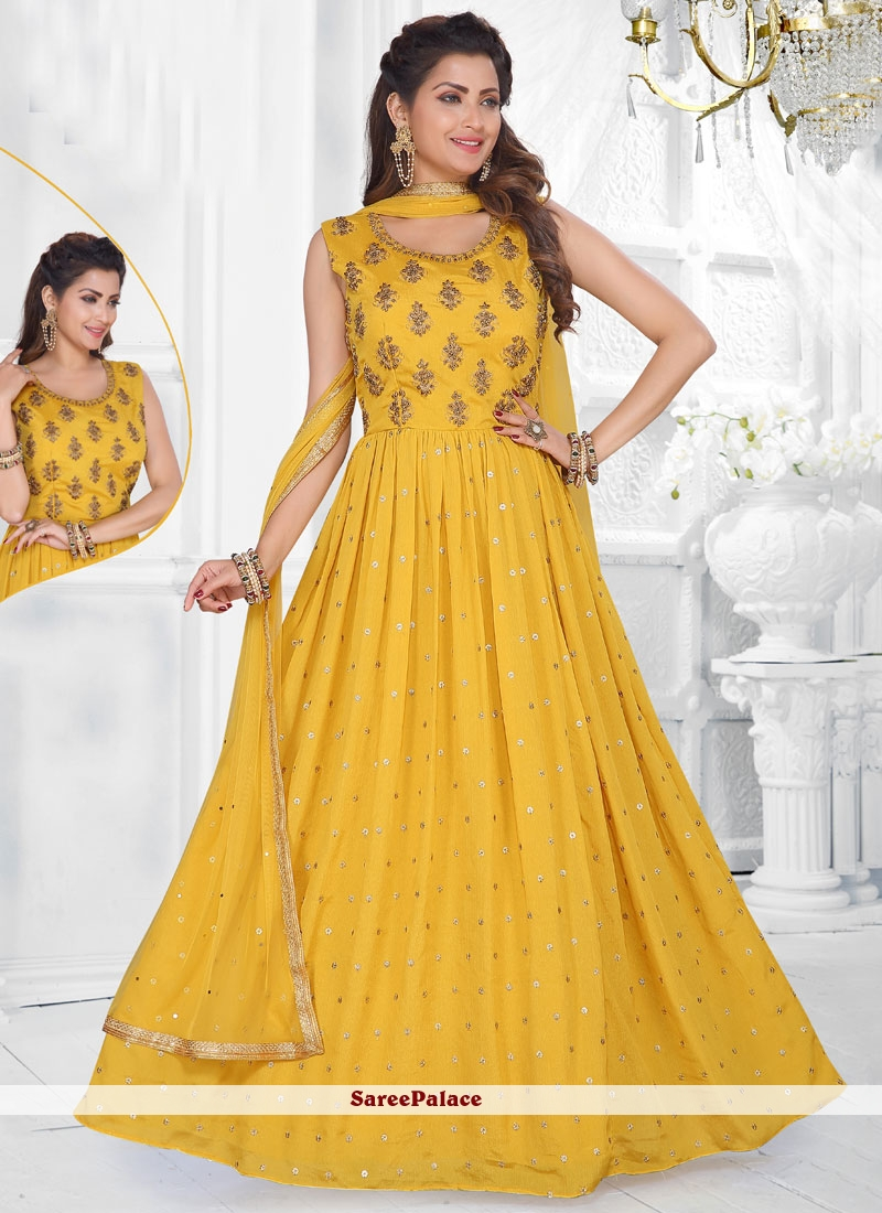 Readymade Suit Fancy Faux Chiffon in Yellow