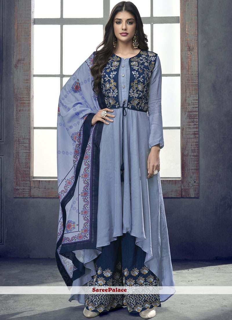 Blue Rayon Readymade Suit For Ceremonial