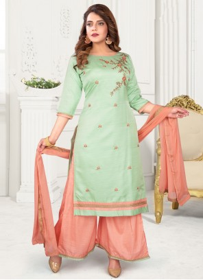 Green Readymade Suit For Ceremonial