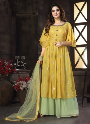Yellow Readymade Suit For Engagement