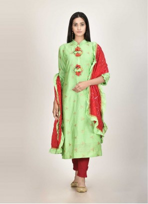 Green Chanderi Readymade Suit For Festival