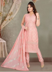 Pink Readymade Suit For Mehndi