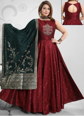 Readymade Suit Handwork Art Silk in Maroon