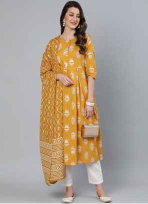 Readymade Suit Print Cotton in Mustard