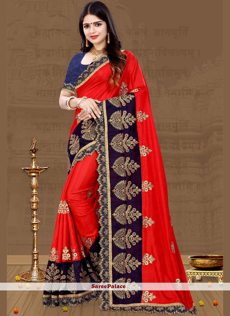Red Aari Art Silk Traditional Saree