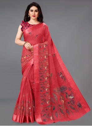 Red Abstract Print Ceremonial Saree