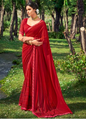Red Abstract Print Festival Casual Saree