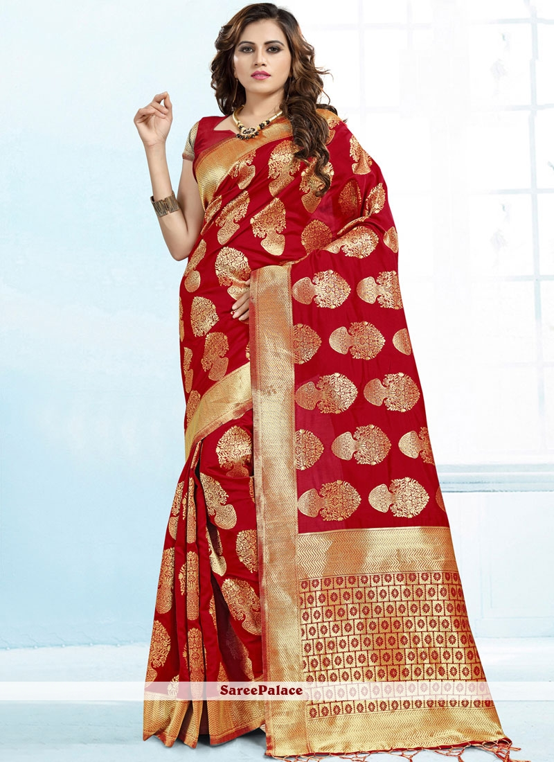 Red Abstract Print Trendy Saree