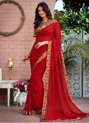 Red Abstract Print Weight Less Casual Saree