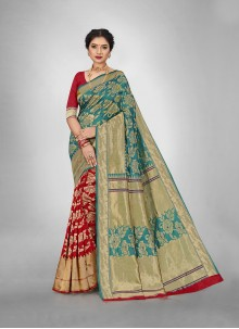 Red and Teal Weaving Silk Saree