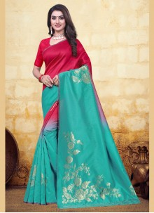 Red and Turquoise Half N Half  Saree