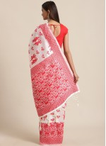 Red and White Festival Traditional Saree