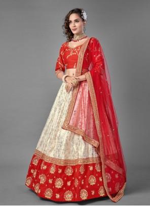 Red and White Jacquard Sangeet Lehenga Choli