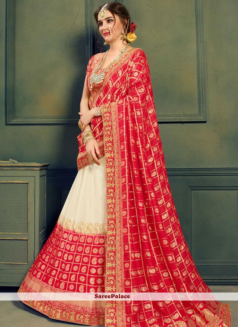 5620f54ee430e3 Buy Red and White Jacquard Silk Patch Border Lehenga Choli Online