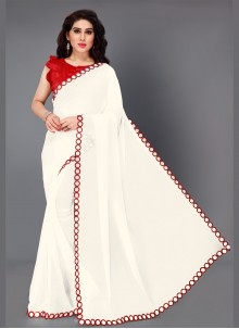 Red and White Mirror Bollywood Saree