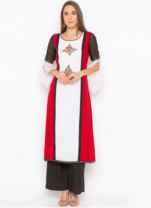 Red and White Party Wear Kurti