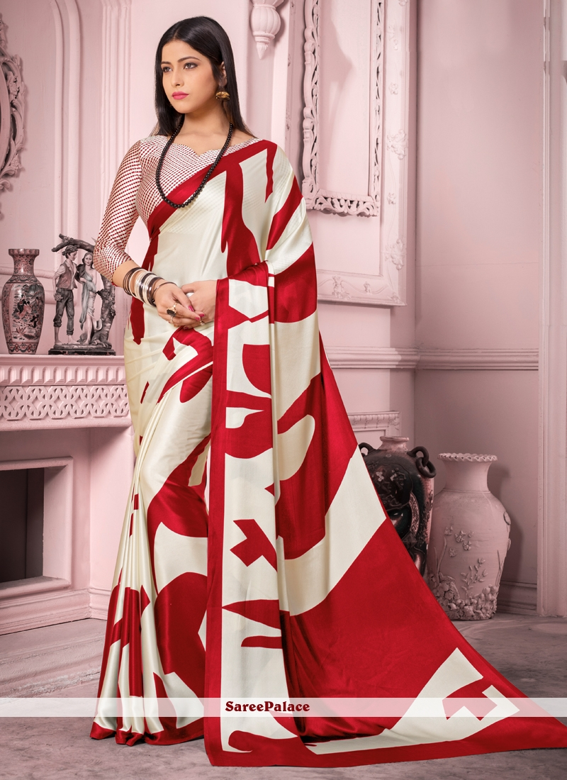 Red and White Print Satin Silk Casual Saree