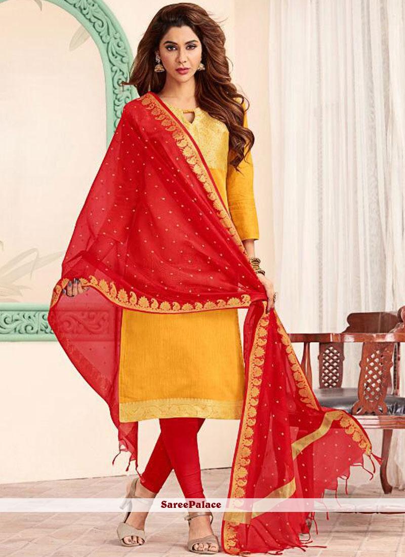 Red and Yellow Banarasi Silk Trendy Churidar Salwar Kameez