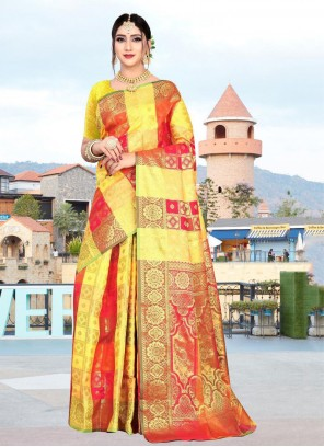 Red and Yellow Classic Saree