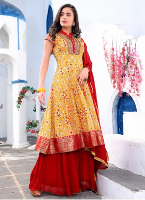 Red and Yellow Embroidered Readymade Suit