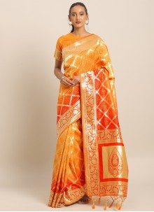 Red and Yellow Engagement Saree