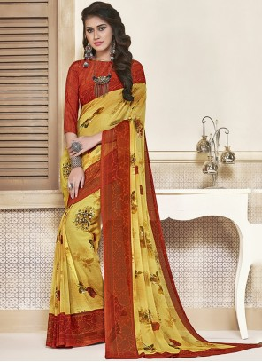 Red and Yellow Printed Georgette Saree
