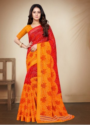 Red and Yellow Cotton Silk Printed Saree