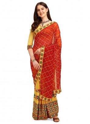 Red and Yellow Vichitra Silk Half N Half  Saree