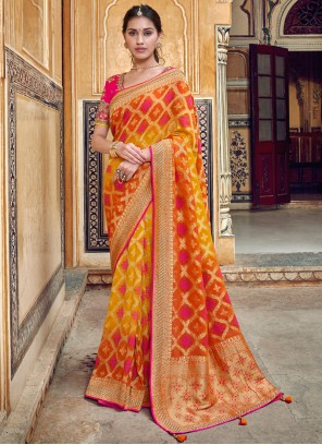Red and Yellow Weaving Reception Printed Saree