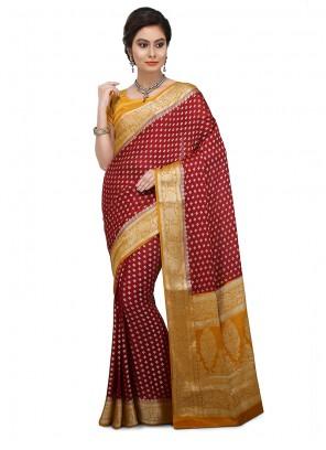 Red Art Banarasi Silk Ceremonial Designer Traditional Saree