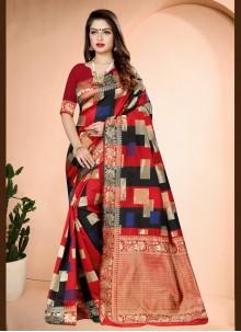 Red Art Banarasi Silk Ceremonial Traditional Designer Saree