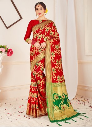 Red Art Banarasi Silk Designer Traditional Saree