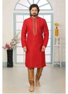 Red Art Banarasi Silk Kurta Pyjama
