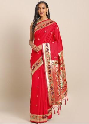 Red Art Banarasi Silk Weaving Saree